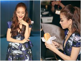 Hoàng Thùy Linh ăn vội bánh mì trước giờ lên sóng