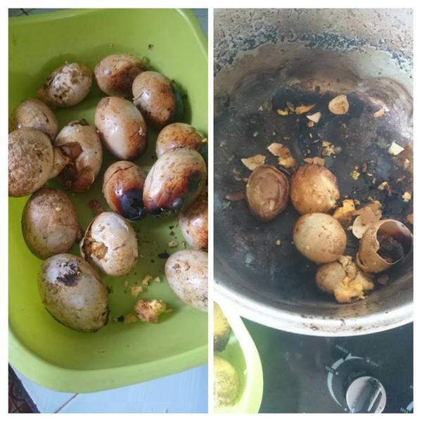 Lại thêm món trứng luộc cháy đen sì cả trứng cả nồi của mẹ bỉm sữa khiến dân tình xôn xao