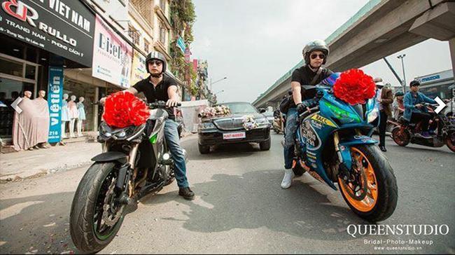 Đám cưới tiền tỉ tại Hưng Yên với xe Limousine đón dâu và phân khối lớn dẫn đường