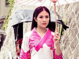 Hoa hậu Ngọc Hân khoe dáng với áo dài tại Nhật Bản