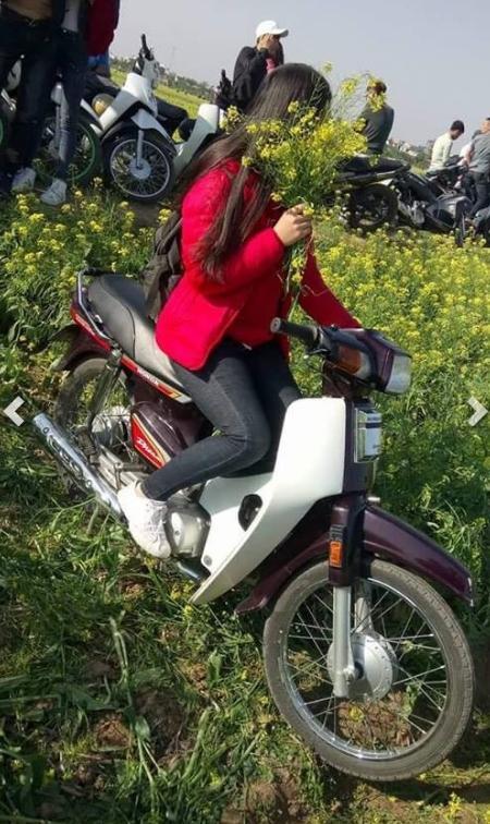 Hình ảnh cô gái xinh đẹp phi xe máy qua vườn hoa cải gây bức xúc - Ảnh 2.