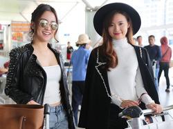 Midu nền nã đọ sắc cùng Trang Moon sexy lên đường sang Hàn dự giải thưởng
