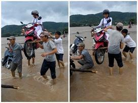 4 'soái ca' khiêng nữ sinh trên xe máy vượt lũ ở Phú Yên gây sốt