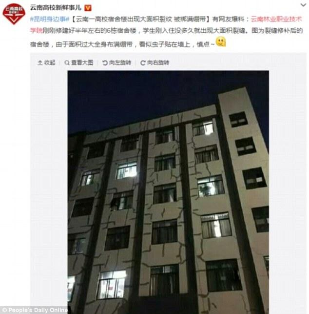 Trung Quốc: Sinh viên kinh hồn bạt vía khi ký túc xá nứt toác, nhà trường cho dính băng keo - Ảnh 3.