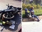 Người đàn ông gần đứt lìa chân sau tai nạn với xế hộp