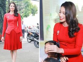 Sáng sớm, Phạm Hương mặc váy đỏ rực chơi với trẻ nhỏ