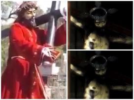 Tượng Chúa Jesus bất ngờ ngẩng đầu khi đang hành lễ