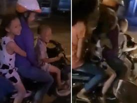 """Clip : Bé trai 5 tuổi nẹt pô xe máy, """"tổ lái"""" trước sự cổ vũ của người lớn đi cùng"""