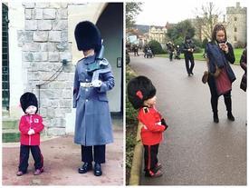 Cậu nhóc 4 tuổi trong trang phục lính gác đốn gục trái tim cư dân mạng với hành động siêu đáng yêu này!
