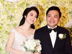 Hoa hậu Thu Ngân được chồng đại gia nâng váy trong lễ cưới