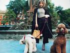 Chi Pu đội tóc giả bạch kim sang chảnh dắt cún cưng 1.000 USD dạo phố ngày xuân