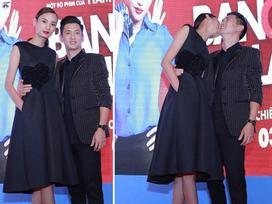 Lê Thúy hôn chúc mừng phim mới của chồng với Miu Lê nhận được hiệu ứng tốt