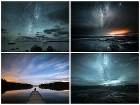 Phong cảnh ma mị dưới bầu trời đêm đầy sao