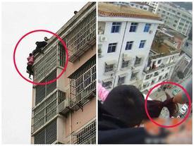 Clip: Khoảnh khắc vợ nhảy lầu tự tử, chồng dùng hết sức túm tóc lôi lên