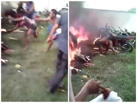 Nghi là thủ phạm giết người, một phụ nữ bị đám đông đánh đập, ném vào lửa cháy ngùn ngụt