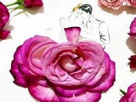 Bộ tranh tình yêu xanh mượt trong truyền thuyết được vẽ nên từ những cánh hoa