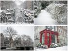 Amsterdam, mùa tuyết trắng phủ kín những con đường