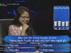 Cô gái trẻ hoang mang với màn trợ giúp như không trong 'Ai là Triệu Phú'