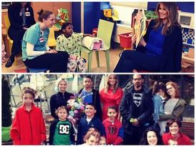 Hình ảnh đẹp trong ngày: Đệ nhất phu nhân Melania Trump giản dị đọc sách cho các bệnh nhi tại New York