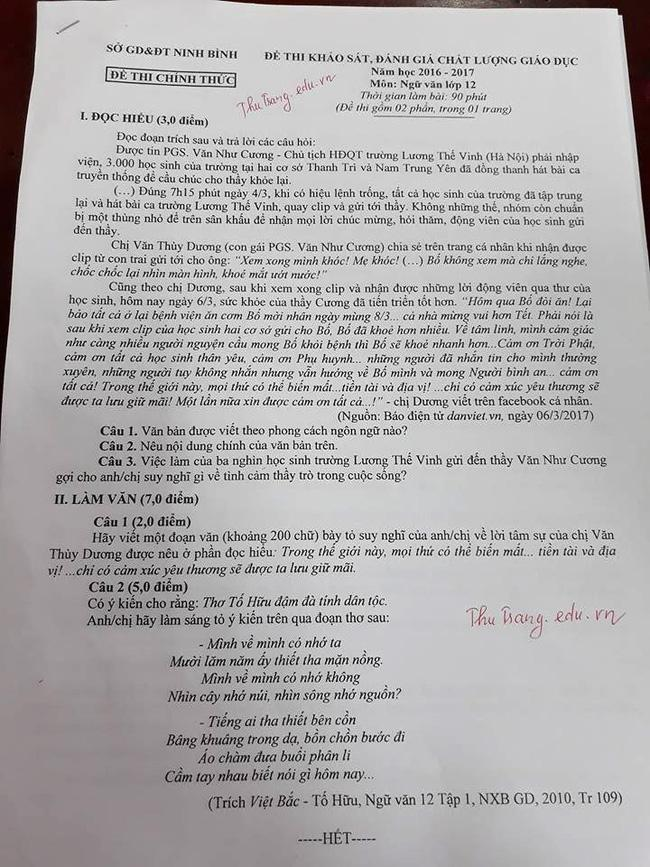 HS Lương Thế Vinh cùng hát mong thầy Văn Như Cương mau khoẻ vào đề thi Ngữ văn - Ảnh 1.