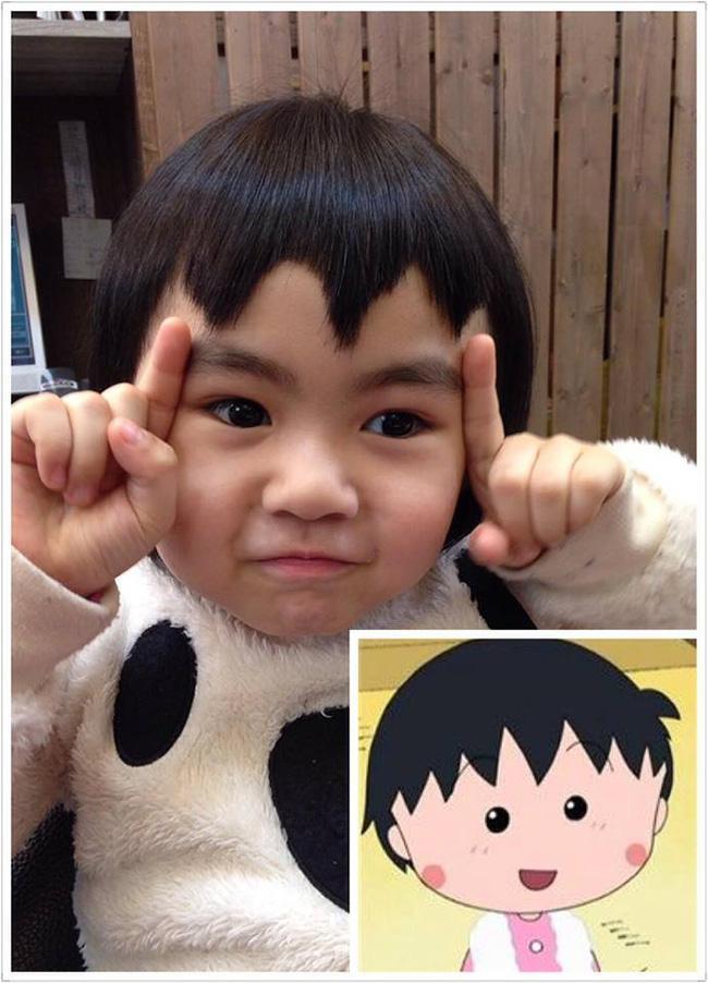 Bị mẹ ngăn cản, cô bé 5 tuổi vẫn kiên quyết cắt tóc răng cưa để giống thần tượng Maruko - Ảnh 1.