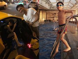 Hà Hồ cùng chồng cũ Cường Đô La cổ vũ con trai Subeo thi bơi