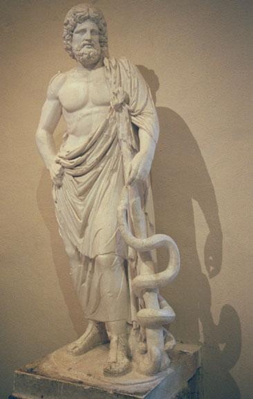 Một bức tượng Esculape cùng cây gậy và con rắn (ảnh: Wiki)