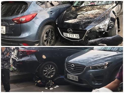 Hà Nội: Xế hộp tông liên hoàn trên đường, 1 học sinh gãy chân
