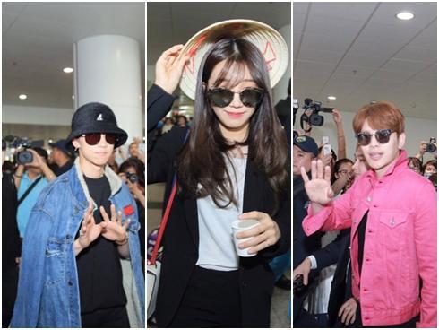 Seventeen, Se7en, Apink bị fan vây chặt khi tới Hà Nội