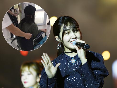 Eunji Apink ngồi xe lăn, nhập viện sau khi biểu diễn tại MBC Music Kplus Concert