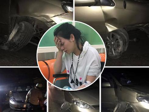 Nhật Kim Anh gặp tai nạn trên đường diễn tỉnh, xe ô tô hư hỏng nặng