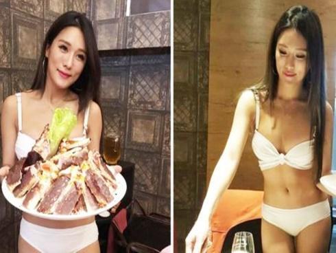 Xôn xao nhà hàng lẩu thuê người mẫu diện bikini làm bồi bàn