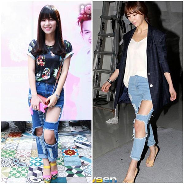 f7907b04ada3797e07cb01993cadd53e Sao Việt, sao ngoại thi nhau diện jeans rách te tua