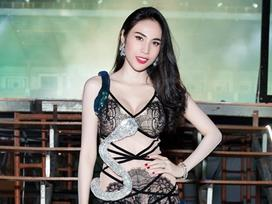 Diện trang phục hở bạo,  Thủy Tiên được Công Vinh 'kè kè hộ tống' đi diễn