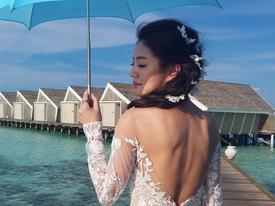 An Dĩ Hiên 'nhá hàng' ảnh cưới lộng lẫy tại thiên đường Maldives