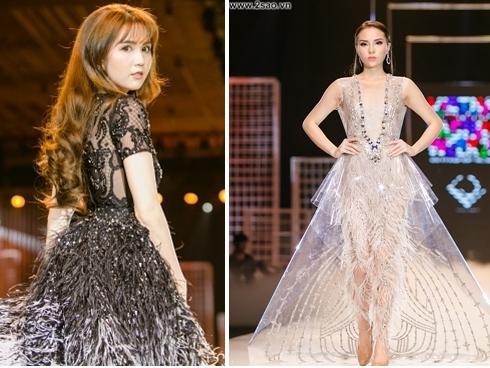 Sau lần đầu thất bại, Ngọc Trinh đã tự tin hơn nhiều khi catwalk cùng hoa hậu Kỳ Duyên