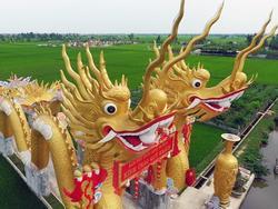 Đôi rồng khổng lồ dẫn vào điện thờ giữa ruộng lúa Thái Bình
