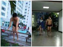 Trường Giang lần đầu lộ thân hình múp míp khi đi bơi cùng Nhã Phương