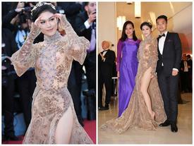 Ngọc Thanh Tâm mặc váy màu da xẻ sâu hoắm trên thảm đỏ LHP Cannes 2017