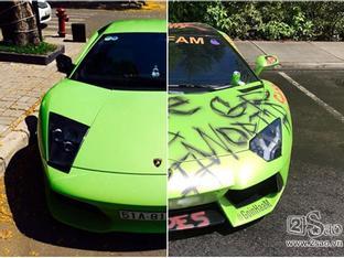 Cộng đồng mạng phát 'điên' với chiếc siêu xe  Lamborghini Aventador bị 'vẽ bậy'