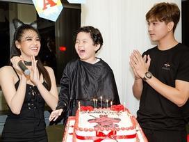 Trương Quỳnh Anh hóa miêu nữ bốc lửa, hạnh phúc cùng chồng trong sinh nhật con trai