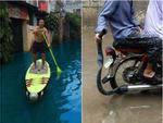 Ảnh hài: Lướt sóng, tắm gội giữa đường phố ngày ngập lụt