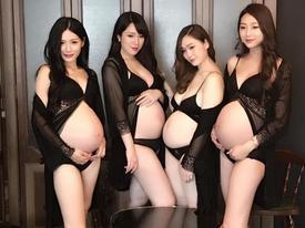MC xinh đẹp xứ Đài táo bạo chụp bụng bầu sexy cùng hội chị em