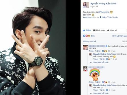 Dân mạng xôn xao khi hotgirl Kiều Trinh share ảnh Sơn Tùng với tên gọi 'bạn trai mới của Phương Xù'