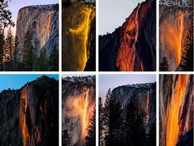 Dòng thác đỏ rực như lửa ở Mỹ