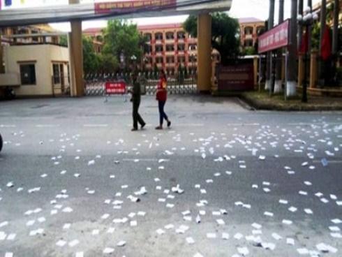 Thái Bình: Công an lên tiếng vụ rải phao thi trắng cổng trường
