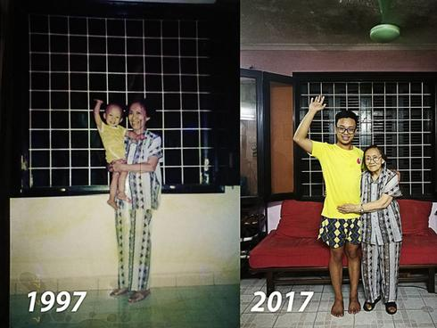 Bức ảnh bà cháu ngày ấy - bây giờ cùng bộ quần áo cũ 20 năm vẫn mặc tốt gây xúc động