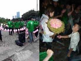 '500 anh em dàn trận' giúp đồng nghiệp cầu hôn dưới mưa ở Mỹ Đình xôn xao mạng xã hội