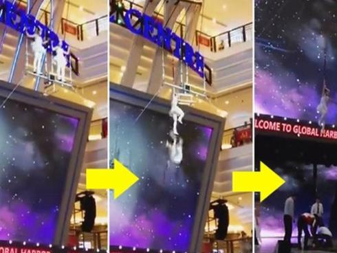 Nữ diễn viên ballet Trung Quốc mất thăng bằng, rơi từ độ cao 5m xuống mặt đất