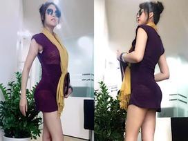 Phi Thanh Vân mặc váy ngắn mỏng tang, khoe 3 vòng sau 'dao kéo'